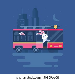 Vector illustration of hares in the retro bus. Clipart of public transport on the background of the night city. Trend modern flat pseudo volume style. Hares are the passengers.