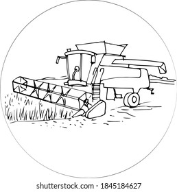Vector illustration of a harvester in the field collects a crop of wheat doodle style