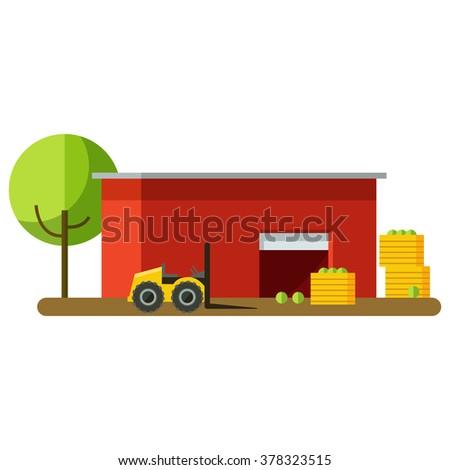 Vector Illustration Harvesting Storage Crops Harvest Stock