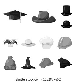 Vector illustration of hat and helmet logo. Set of hat and profession stock vector illustration.