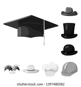 Vector illustration  hat and helmet sign. Set  hat and pression vector icon for stock.