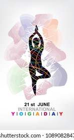 Vector illustration of Hatha yoga ( 'ha' meaning 'sun' and 'tha' meaning 'moon') June 21st international yoga day. Yoga Silhouette Stock Illustration.yoga vector image.