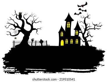 vector illustration of a haunted house at halloween