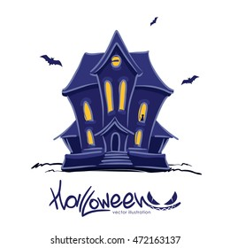 Vector illustration: Haunted  witch house with cat in the window and hand lettering of Halloween isolated on white background.