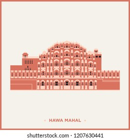 Vector illustration of Hawa Mahal, Jaipur, India