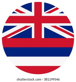 Vector illustration Hawaii flag vector icon. Round national flag of Hawaii. Hawaii flag button