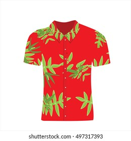 Vector illustration Hawaiian aloha shirt. Beach male cloth. Hawaii shirt adult clothing pattern design and modern flat hawaii shirt textile.