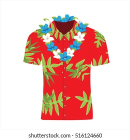 Vector illustration Hawaiian aloha shirt with flower wreath, necklace. Hawaii shirt aloha beach male cloth. Hawaii shirt adult clothing pattern design and modern flat hawaii shirt textile.