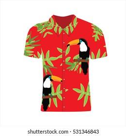 Vector illustration Hawaiian aloha shirt. Hawaii shirt aloha beach male cloth. Clothing pattern design and modern flat hawaii shirt textile.
