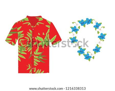 77dcc29c2 Vector illustration Hawaiian aloha shirt with flower wreath, necklace. Hawaii  shirt aloha beach male cloth. Hawaii shirt adult clothing pattern design  and ...