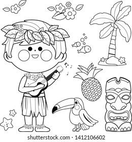 vector illustration hawaiian boy playing 260nw
