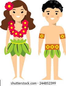Vector illustration of  hawaiian male and female. Set of   hawaiian male and female dressed in national costumes.