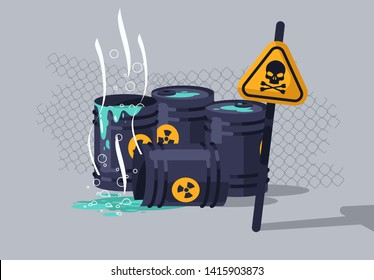 vector illustration of hazardous chemical waste in barrels, hazard warning sign