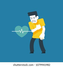 Vector Illustration, He suffered from a heart attack symptoms