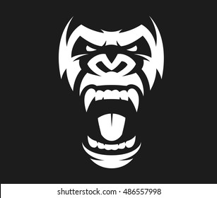 Vector illustration, head evil ferocious gorilla shouts, mascot