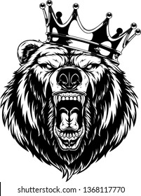 Vector illustration, head of a ferocious grizzly bear wearing a crown, black outline on a white background