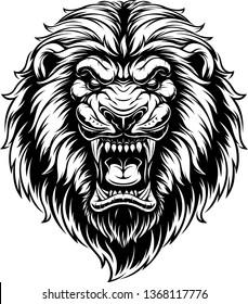 Vector illustration, head of a ferocious lion, black contour on a white background