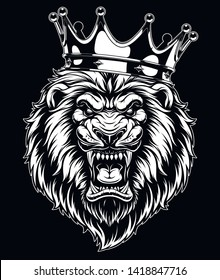 Vector illustration, head of a ferocious lion wearing a crown, on a black background.