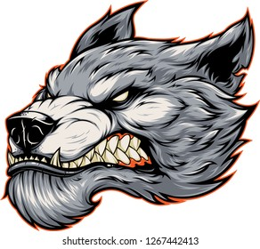Vector illustration, head of a ferocious werewolf wolf, in cartoon style, isolated on white background