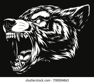Vector illustration head ferocious wolf, outline silhouette on a black background