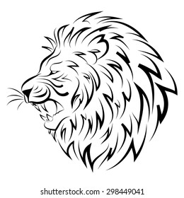 Vector illustration of head of lion isolated on white background