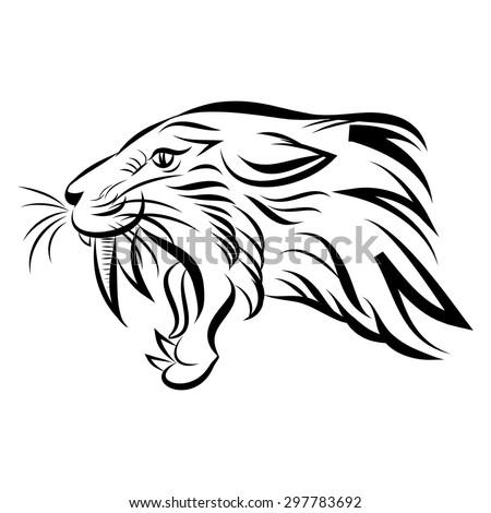 Vector Illustration Head Sabertoothed Tiger Smilodon