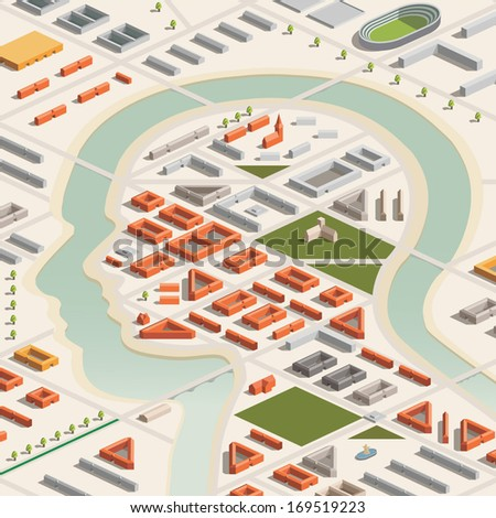 A vector illustration of a head shaped city in isometric format. Editable with objects logically layered. City features buildings, trees, church, stadium, etc./Isometric Head City