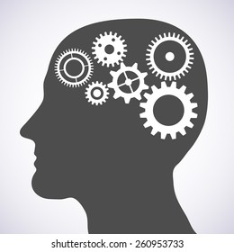 Vector illustration of head silhouette with gears mechanism as brains.