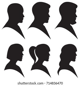 Vector illustration. Head silhouette of man and woman in black color isolated on white. Side view profile, avatar
