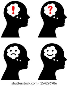 Vector illustration of head with thought or speech bubble, emotion concept, question, idea, sadness, depression or happiness