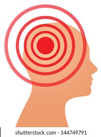 Vector illustration of headache, migraine or psychology concept