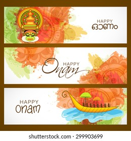 Vector illustration of header Happy Onam decoration with rangoli.colourful Kathakali face with heavy crown decorated with pearls and stone on grungy colourful background for Onam celebration.