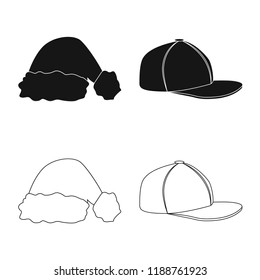 Vector illustration of headgear and cap icon. Set of headgear and accessory stock symbol for web.