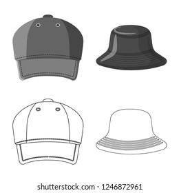 Vector illustration of headgear and cap icon. Set of headgear and accessory stock vector illustration.
