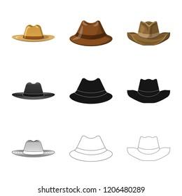 Vector illustration of headgear and cap logo. Set of headgear and accessory stock symbol for web.