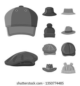 Vector illustration of headgear and cap logo. Collection of headgear and accessory stock vector illustration.