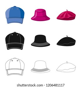 dd3af48a942 Vector illustration of headgear and cap symbol. Set of headgear and  accessory vector icon for