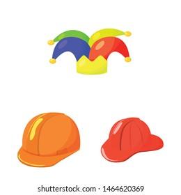 Vector illustration of headgear and napper sign. Set of headgear and helmet vector icon for stock.