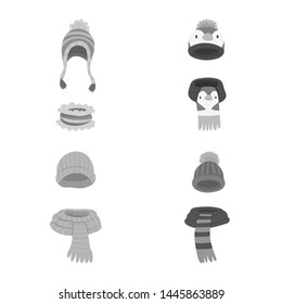 Vector illustration of headwear and fashion sign. Collection of headwear and cold stock vector illustration.