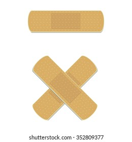 Vector illustration health care panel. Crossed medical plaster. Adhesive bandage