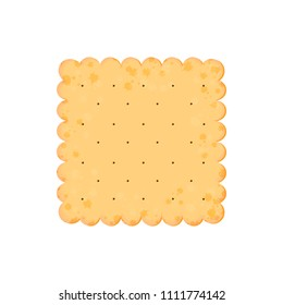 Vector Illustration. Health cracker. Isolated cookie: square. Icon