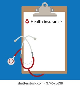 Vector illustration health insurance concept design. Clipboard and stethoscope.
