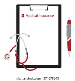 Vector illustration health, medical insurance concept design. Clipboard and stethoscope.