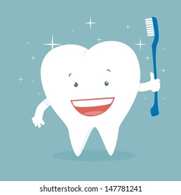 Vector illustration of a health smiling cartoon tooth holding a toothbrush.