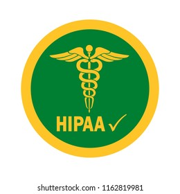 Vector illustration of Healthcare Information Portability and Accountability Act (HIPAA) Compliant icon for graphic and web design.