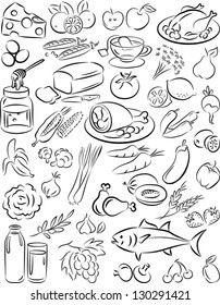 vector illustration of  healthy food collection in black and white