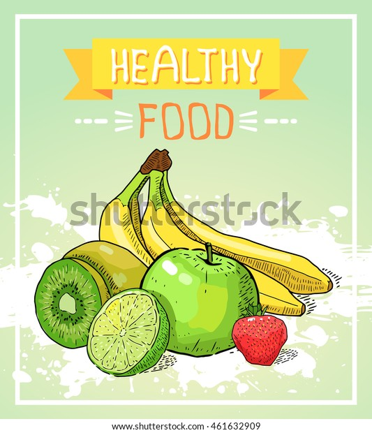 Vector Illustration Healthy Food Poster Isolated Stock Vector Royalty Free 461632909