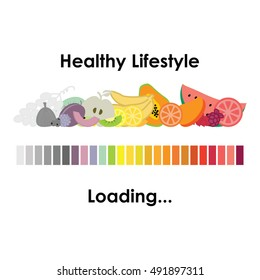 vector illustration of healthy lifestyle design with loading bar and different colorful fruits as beginning of better nutrition period in someones life