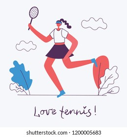 Vector illustration of Healthy lifestyle. Doing sport background design elements in flat style with hand drawn qoute - Love tennis