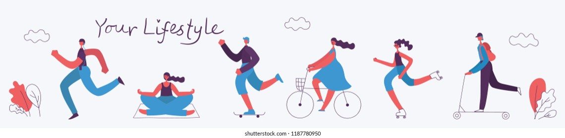 Vector illustration of Healthy lifestyle. Roller skate, bicycle, walking and skating sport design elements in flat style